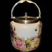 Vintage Porcelain Biscuit Jar With Lid