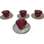 """Vintage Federal Glass Co """"Diana"""" pattern Demitasse  Cranberry Swirl Cup and Crystal"""