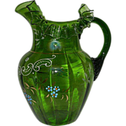 Antique Victorian Hand Blown and Painted Green Glass Pitcher