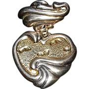 Gorham Sterling Silver Gold Footprints In Sand Heart Pendant Poem On Back