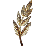 Trifari Gold Tone Leaf Brooch or Pin