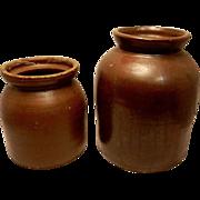 Vintage Red Ware Crock Canning Jars