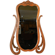 Vintage Wood Framed Wash Stand Mirror- Wall Mirror