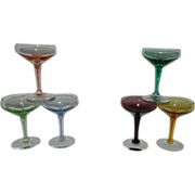 Vintage Colored Cordial Champagne Glasses