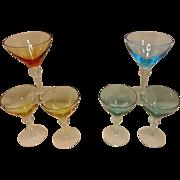 SOLD Vintage Colored Martini or Cordials Stemware