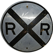 Antique Round Enameled Metal Railroad Crossing Sign