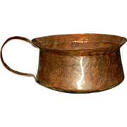 Antique Hammered Copper Pot with Dovetail Joints and Braded Handle