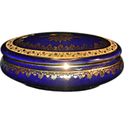 Vintage Cobalt Blue with 24kt Gold Accents Gout De Ville Limoges Oval Trinket Box