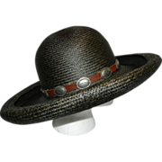 Vintage Fiesta Straw Hat with Conchos and Leather Band