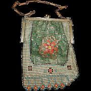 Vintage Whiting & Davis Enameled Mesh Bag With Three Dimensional Flower