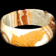 Vintage Banded Agate Onyx Bangle Bracelet