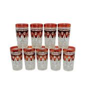 SOLD Vintage Ruby Flashed Indiana Glass Park Lane Pattern Water Tumblers