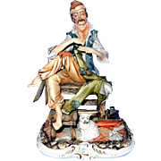 SALE Vintage Signed Meneghetti Capodimonte Porcelain Figurine- The Tailor
