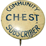 Vintage Community Chest and Red Cross Pinback Buttons