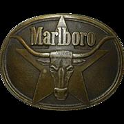 Vintage Solid Brass Marlboro Belt Buckle 1987