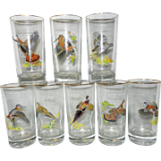 Vintage Culver's Ned Smith Gamebird 15-Ounce High Ball Glasses- Set of 8