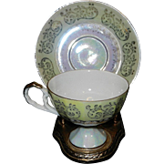 Vintage Norleans China Iridescent Footed Tea Cup and Saucer - August Orange & Green Poppy Flow