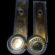 Vintage Solid Brass Door Hardware Set- Door Knobs and Plates