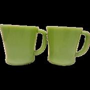 SALE Vintage Fire King Jadite D Handle Coffee Mugs- set of 8 Circa 1950's