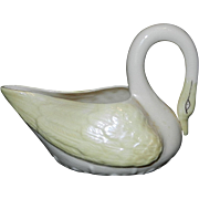 Vintage Belleek Ireland Porcelain Swan Creamer with Accent Colors