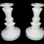 Vintage Decorative Milk Glass Candlesticks
