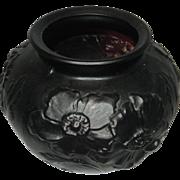 Vintage Tiffin Glass Poppy Flower Black Amethyst Vase