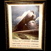 Vintage Leslie Ragan  Lithograph of a Art Deco Era Train New York Central System