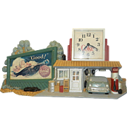Vintage Burwood Products Coke Clock and Station Scene