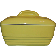 Vintage Hall China Company Canary Yellow Westinghouse Casserole - Refrigerator Dish