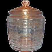 Vintage Pink Hocking Paneled and Ribbed Beehive Cookie or Biscuit Jar