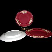 SALE Vintage Red Spode Copeland Dinner Plates Pattern R2648