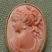"SOLD AMAZING BEAUTY Large 1.85"" Angel Skin Coral Goddess in 18kt Pendant / Brooch - circa"