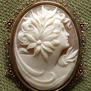 "SOLD AMAZING Large 2.25"" Goddess Cameo Victorian 10kt Pendant / Brooch - circa 1880's"