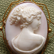 SOLD Isn't She Lovely.... Victorian High Relief Coral Cameo of Young Woman 9kt Brooch - Early
