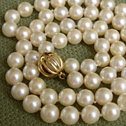 SOLD GORGEOUS Signed Mikimoto w/ RARE Unusual 18K Clasp & 6.3mm Akoya Pearls Necklace w ...