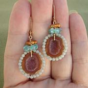 SOLD Beautiful Caramel Druzy Agate Geode Gemstone Dangles - Sweet Celeste Earrings