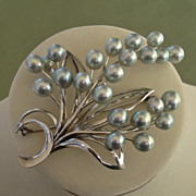 """SALE PENDING EXQUISITE Japanese Akoya Cultured Pearls & Sterling X-LARGE 2.95"""" Brooch / P"""