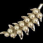 "Beautiful LARGE 2.5"" Fern Akoya Cultured Pearls Sterling Brooch, c. 1960's"