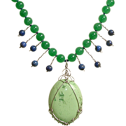 SALE Divinely Luscious Chrysoprase, Lapis Gemstones & Sterling Silver Necklace !