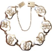 SALE Beautiful Japanese Akoya Cultured Pearls Sterling Vintage Bracelet