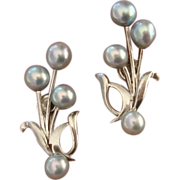 SALE EXQUISITE Perla del Caribe Akoya Cultured Blue Pearls & Sterling Earrings