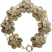 REDUCED Plush & Intricate Filigree Flowers Sterling Silver Bracelet