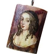 SOLD Captivating Beauty - Portrait of Young Woman Painted on Bone Pendant - Poland, Signed a.