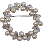 Dazzling & Luminous Akoya Cultured Pearls Floral Wreath Sterling Japanese Brooch !