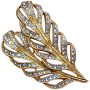 """SALE SALE ! Exquisite Large 2.25"""" Crystal Blue Rhinestone Feathers Brooch / Pin"""