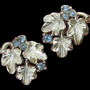 Lovely Lisner ! Gorgeous Leaves with Crisp Light Blue Crystal Berries Silver Earrings