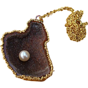 SALE Amazing Caramel Druzy Agate & Akoya Cultured Pearl Geode Pendant Necklace