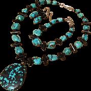 SALE Marvelous Turquoise, Black Coral & Onyx Gemstone Necklace, Bracelet & Earrings Set