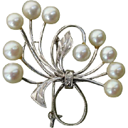 "SALE STUNNING Large 1.8"" Mikimoto Akoya Cultured Pearl Sterling Brooch - 1940's"