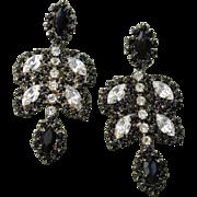 "Dazzling 2.5"" Black & White Glass Paste Stones Dangle Pierced Earrings"